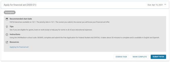 Screenshot of Financial Aid task